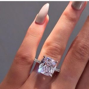 Sunshine 925 Silver Ring White Sapphire 5ct